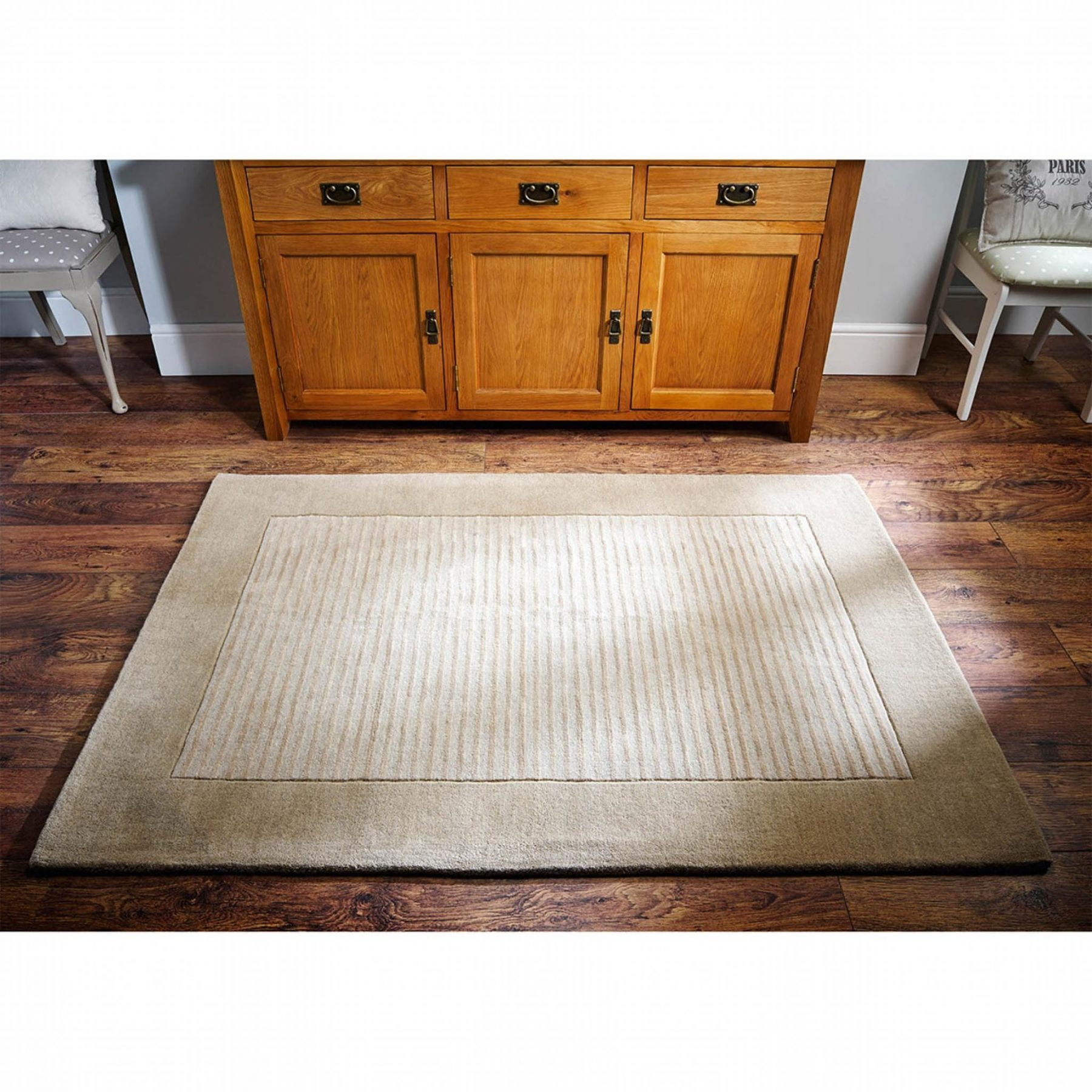 Henley Beige Striped Rug   Luxurious Contemporary Wool Rug