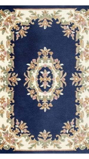 Royal Blue Wool Rug Traditional Hand Tufted 100 Wool Rug